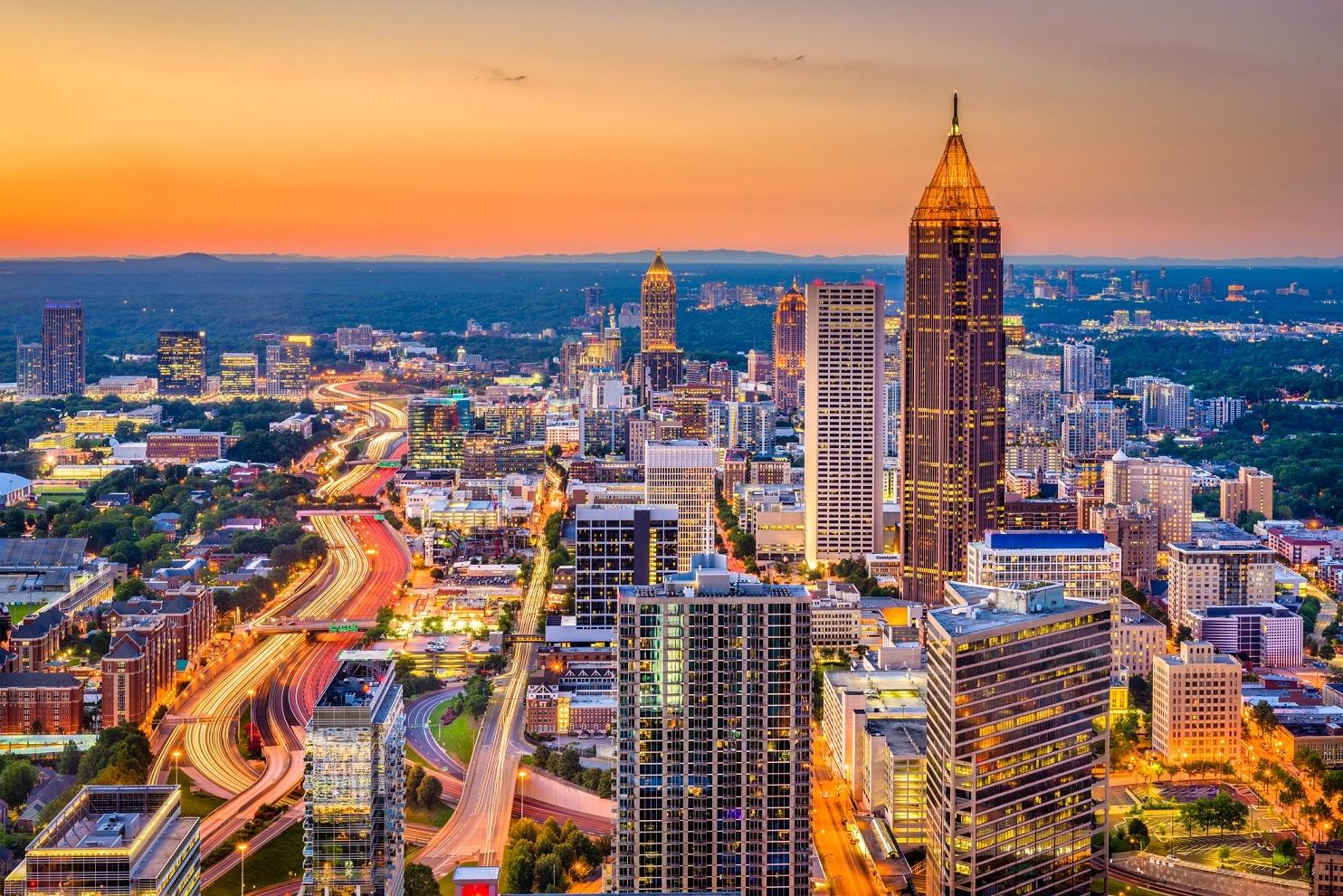 Atlanta, Georgia, USA downtown skyline at dusk.