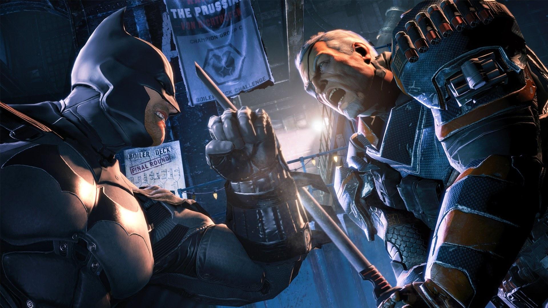 Deathstroke fights Batman in Arkham Origins