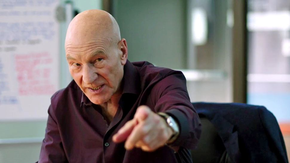 Patrick Stewart points his finger