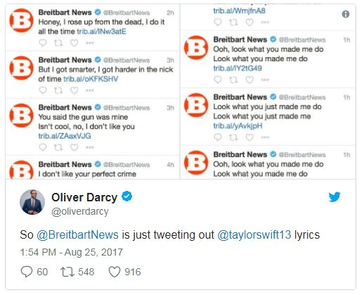 a compilation of breitbart tweets