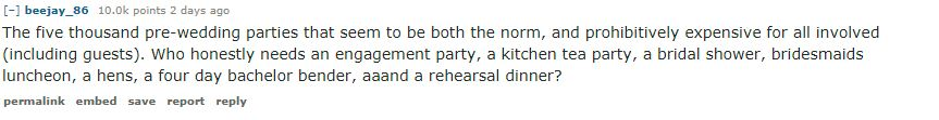 reddit post about bridal showers