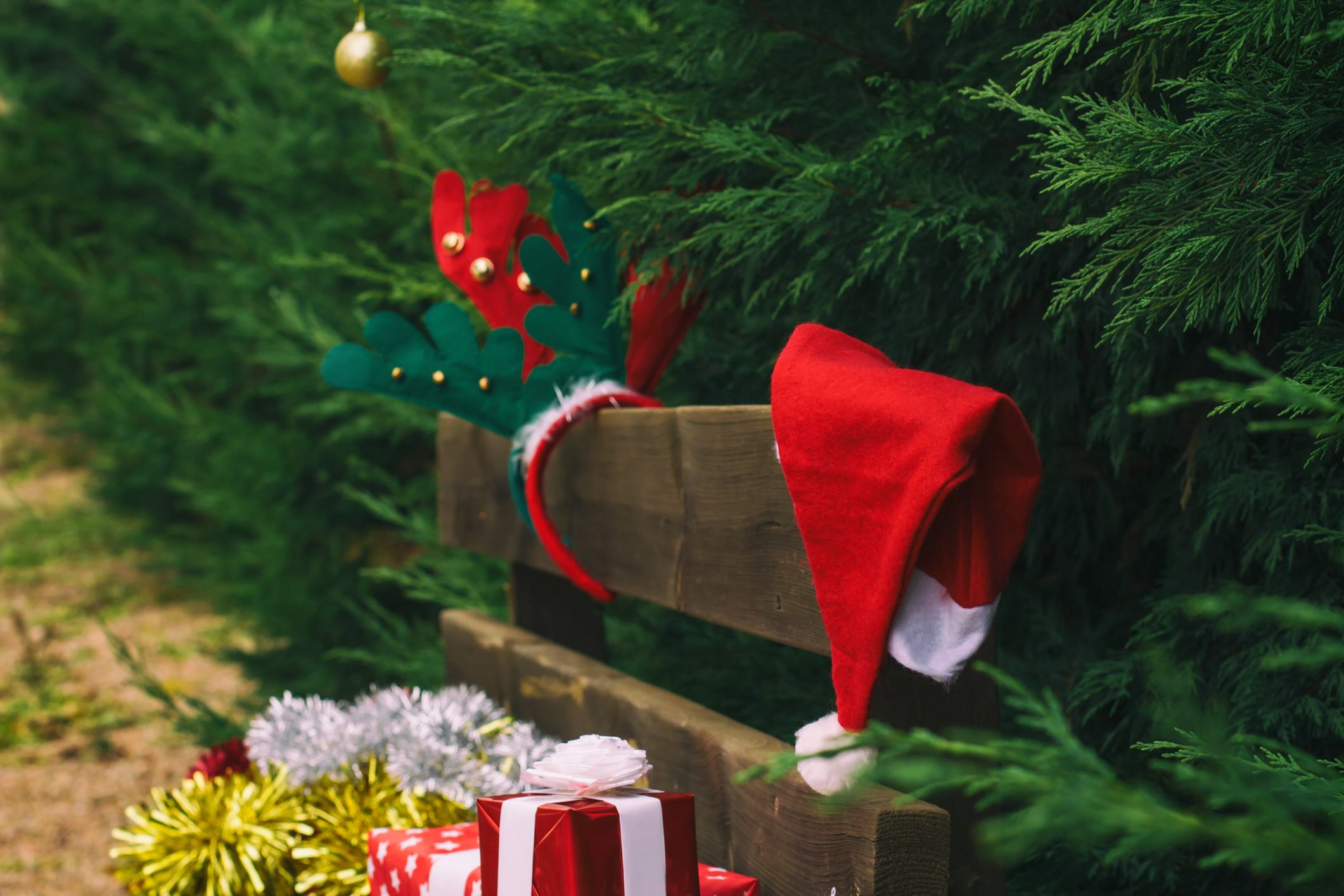 Christmas decor on bench