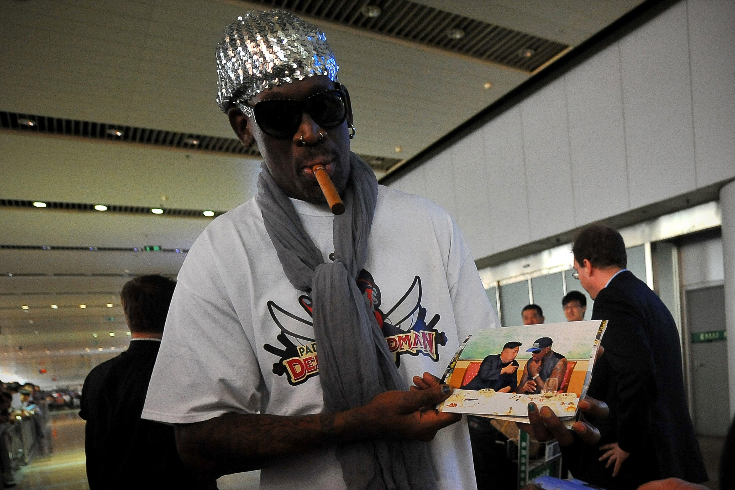 Dennis Rodman leaving North Korea