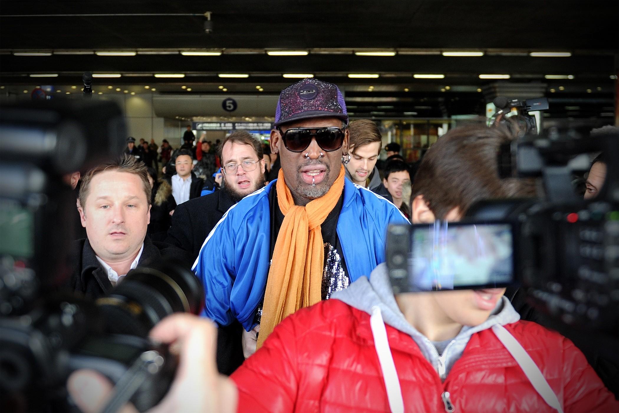 Dennis Rodman leaving North Korea
