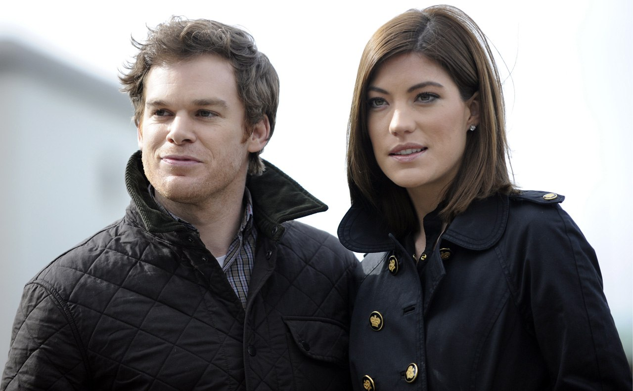 Michael C. Hall as Dexter and Jennifer Carpenter as Debra on Dexter