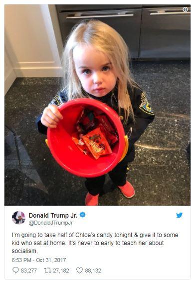a tweet showing Chloe Trump as a cop