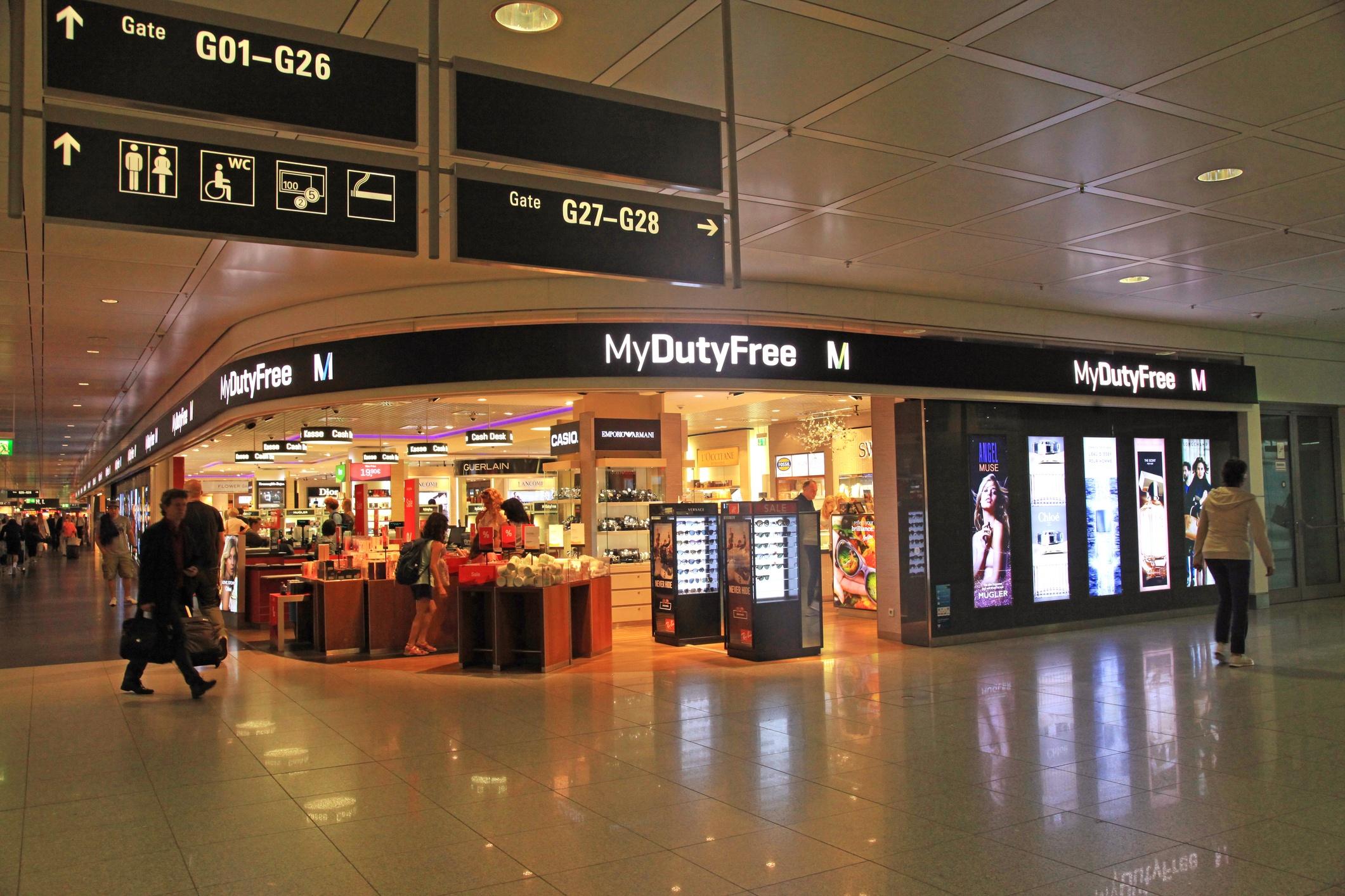 Duty free shop in airport, Munich, Germany.