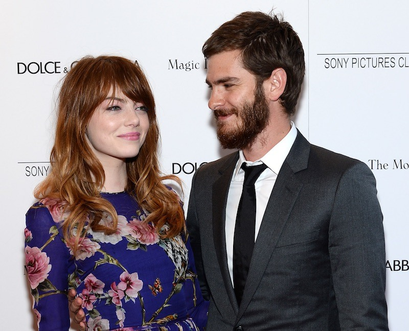 Actors Emma Stone and Andrew Garfield attend the 'Magic In The Moonlight' premiere at the Paris Theater