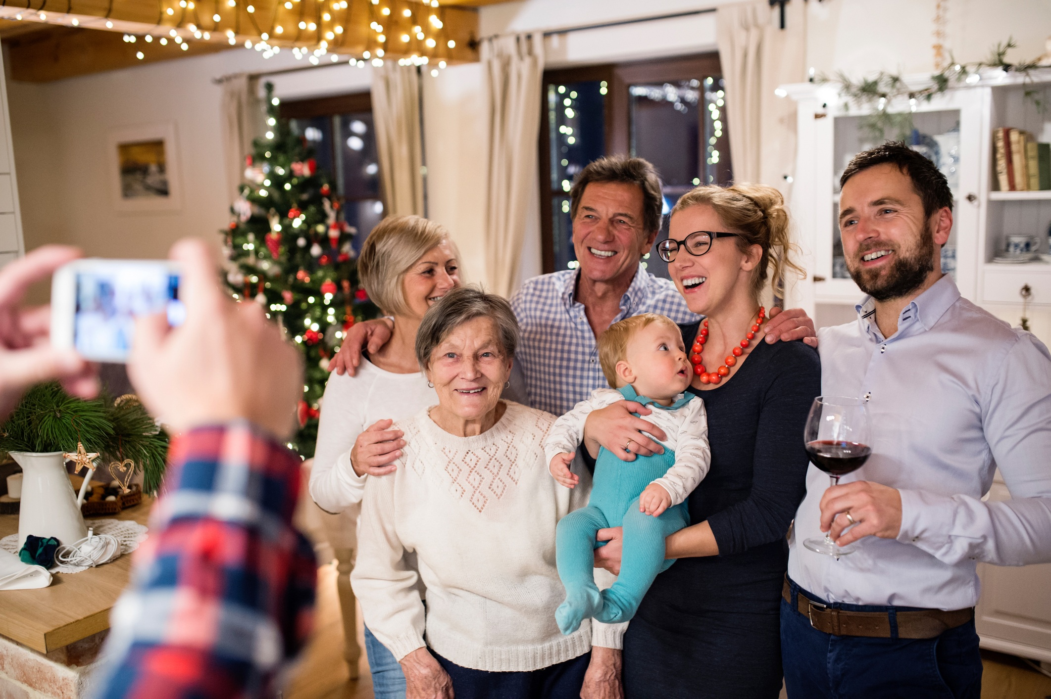 Family taking Christmas picture