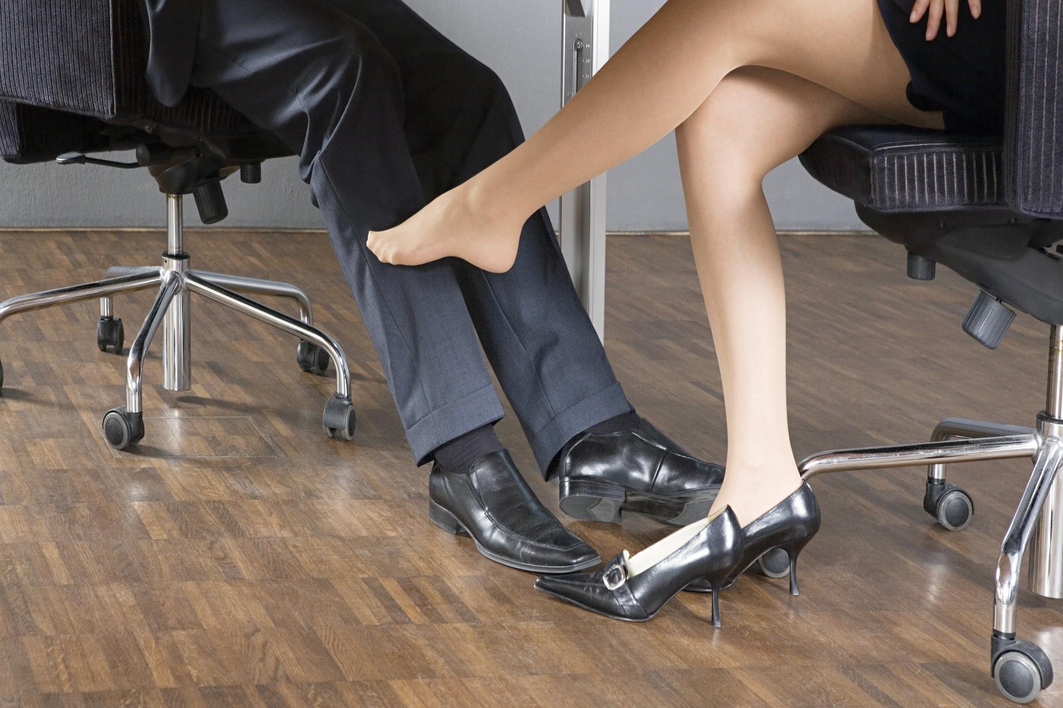 Woman flirting at work