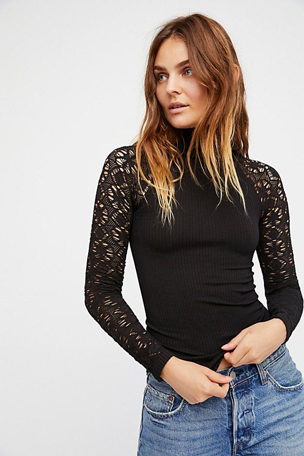Rib and Lace Turtleneck Free People