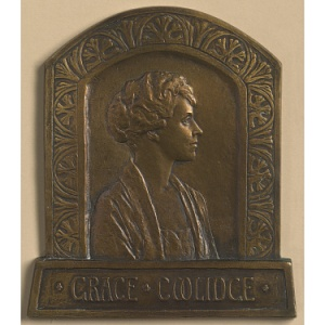 a bronze portrait of grace coolidge