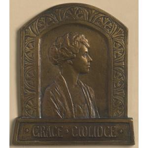 a bronze portrait of grace coolidge