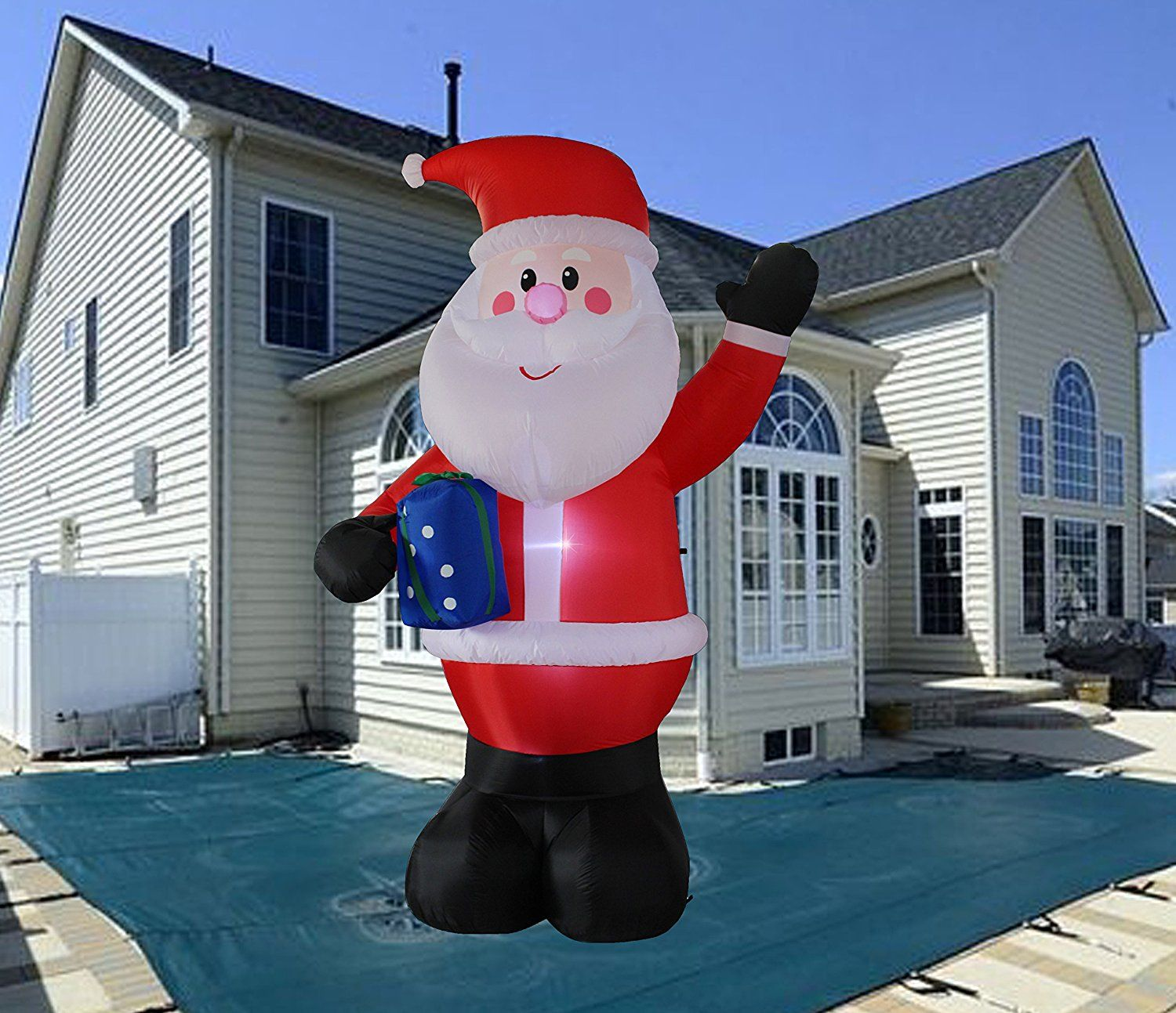 10 Foot Inflatable Portable Santa Claus Blow Up Indoor and Outdoor Lawn Yard Home Decoration