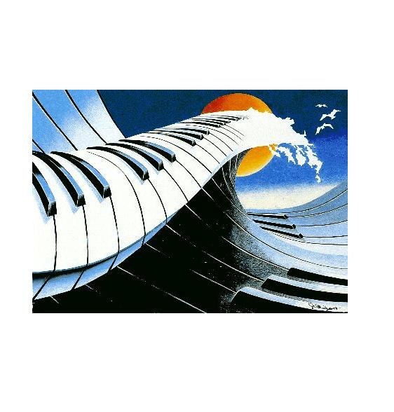 James Allridge painting piano wave
