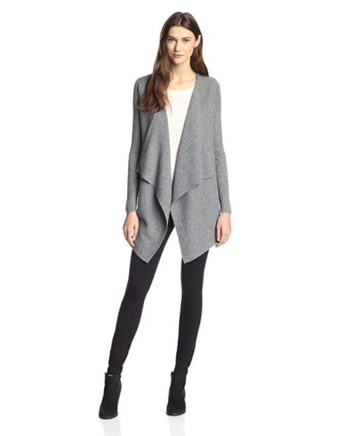 James & Erin Women's Rib Cascade Open Cardigan
