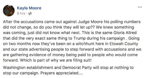 a screenshot of a Kayla Moore facebook post
