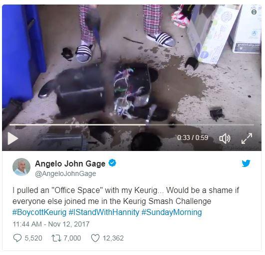 a screenshot of a man smashing a keurig on twitter