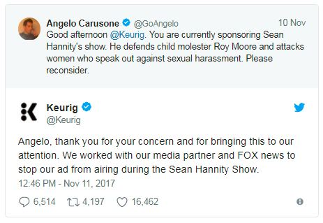 a tweet by keurig about Sean Hannity's Roy Moore comments