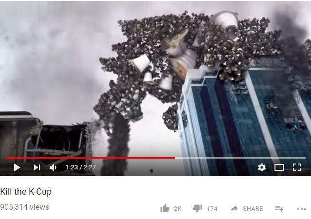 a youtube screenshot of a monster made of k-cups