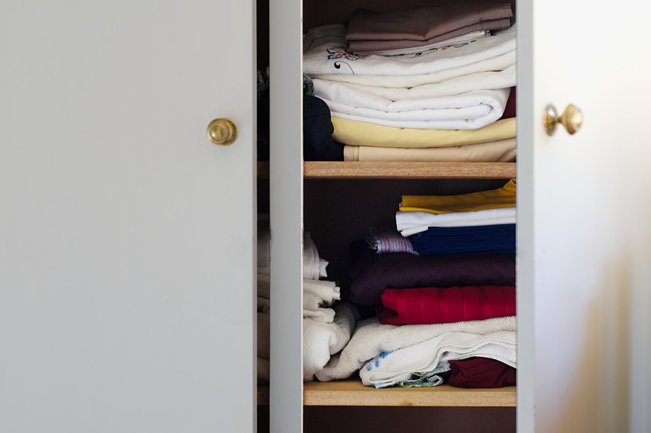 Sheets in linen closet