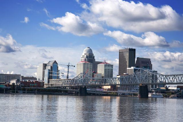 skyline of downtown Louisville Kentucky from across the Ohio River