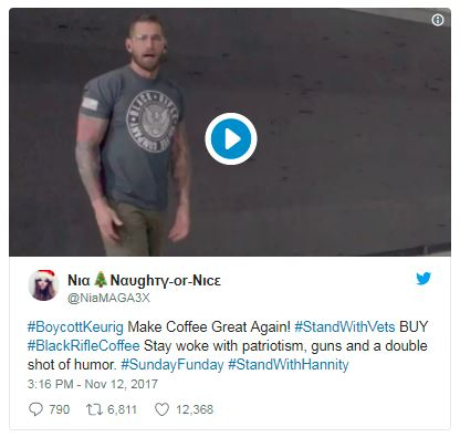 a tweet by the black rifle coffee company