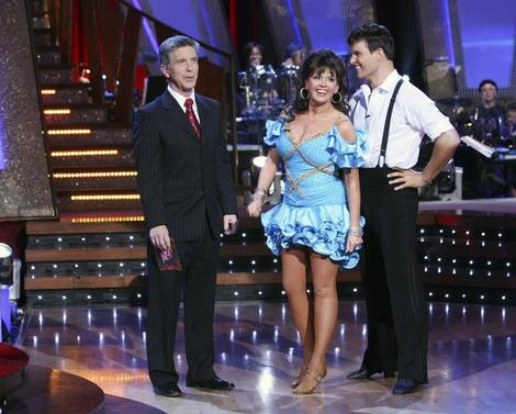 Marie Osmond in a blue costume on Dancing With the Stars