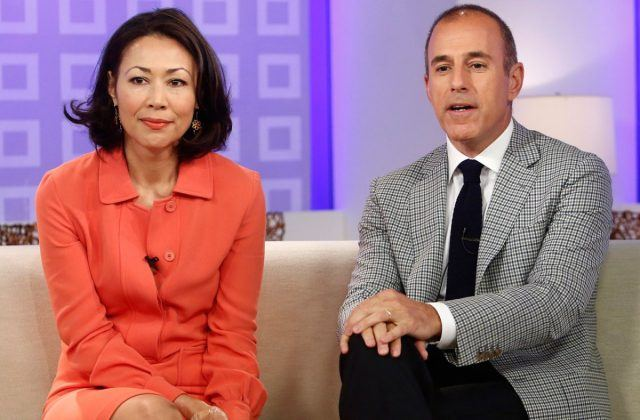 Ann Curry and Matt Lauer sitting together on a sofa.