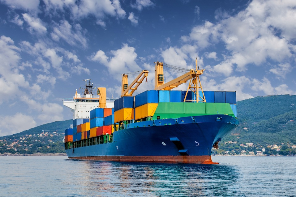 Merchant container ship