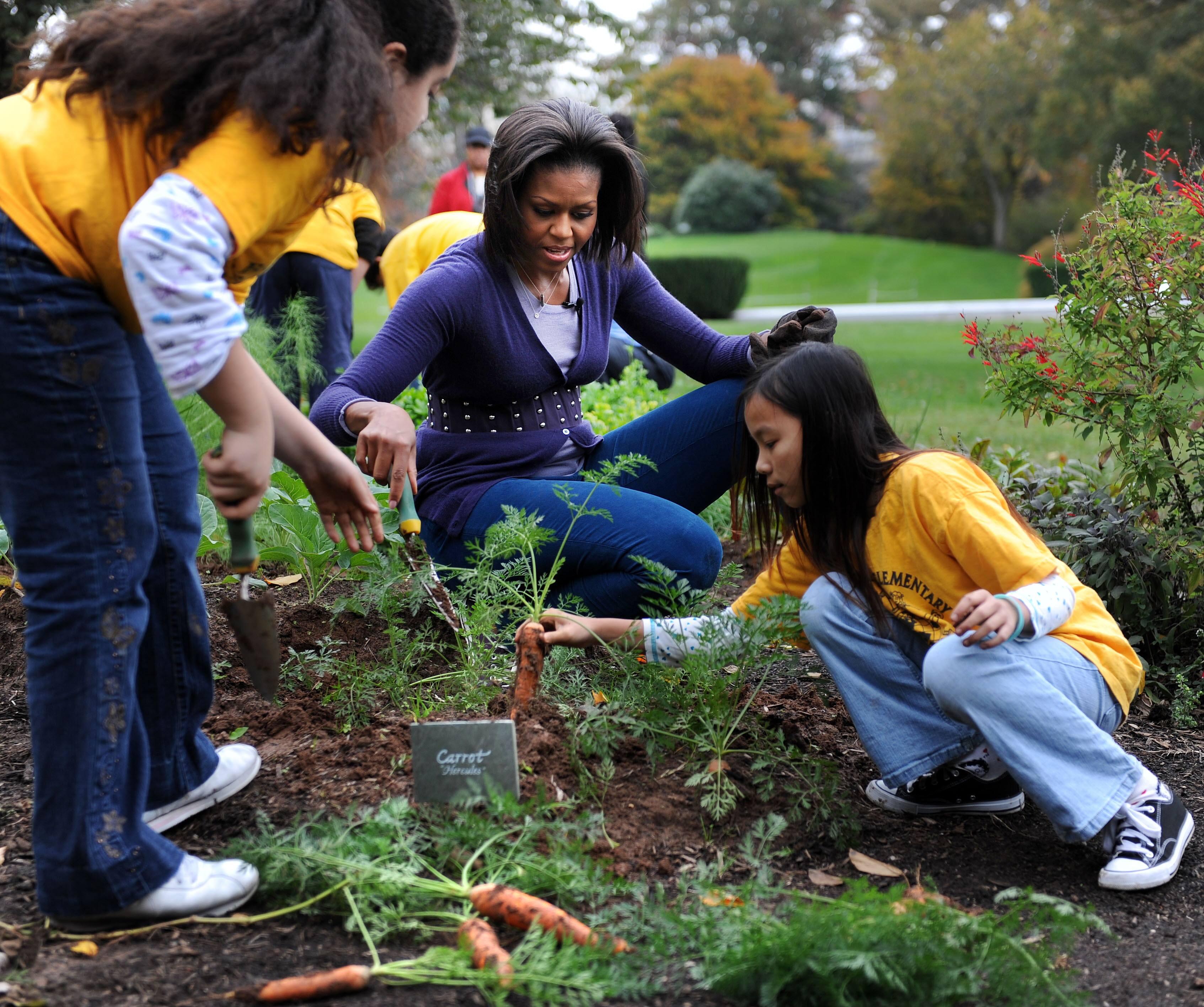 Michelle Obama gardening