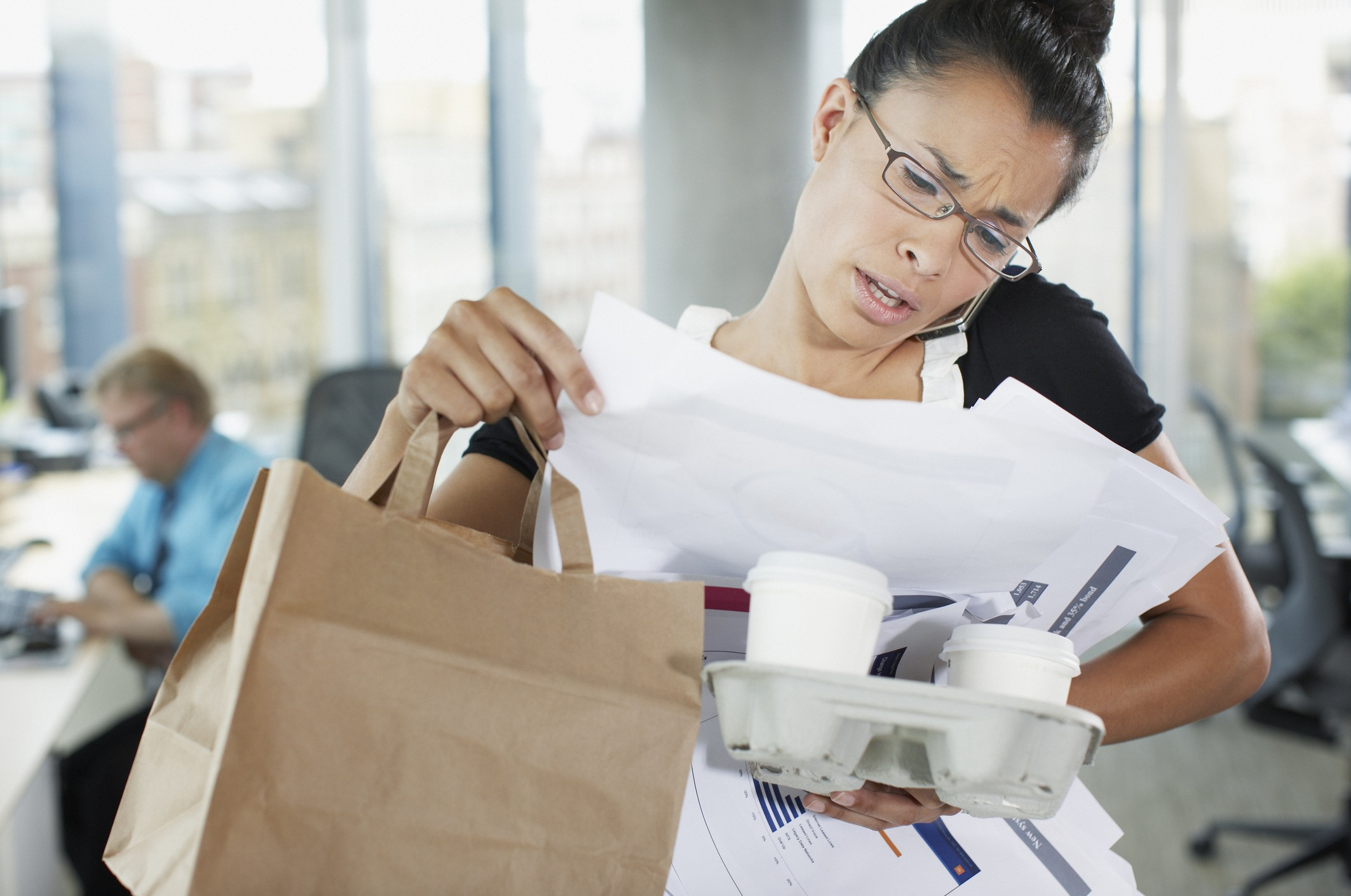 Multitasking business woman