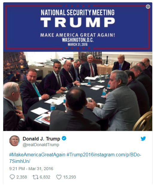 a tweet by Trump showing his national security team