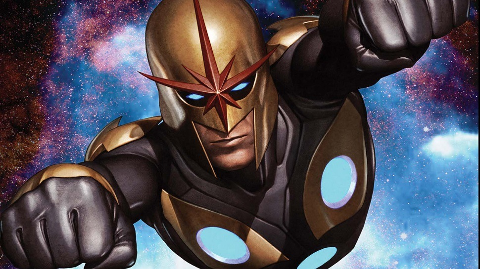 Nova flies in space in a Marvel comic