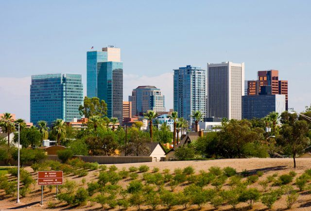 The city of Phoenix seen on a bright day.