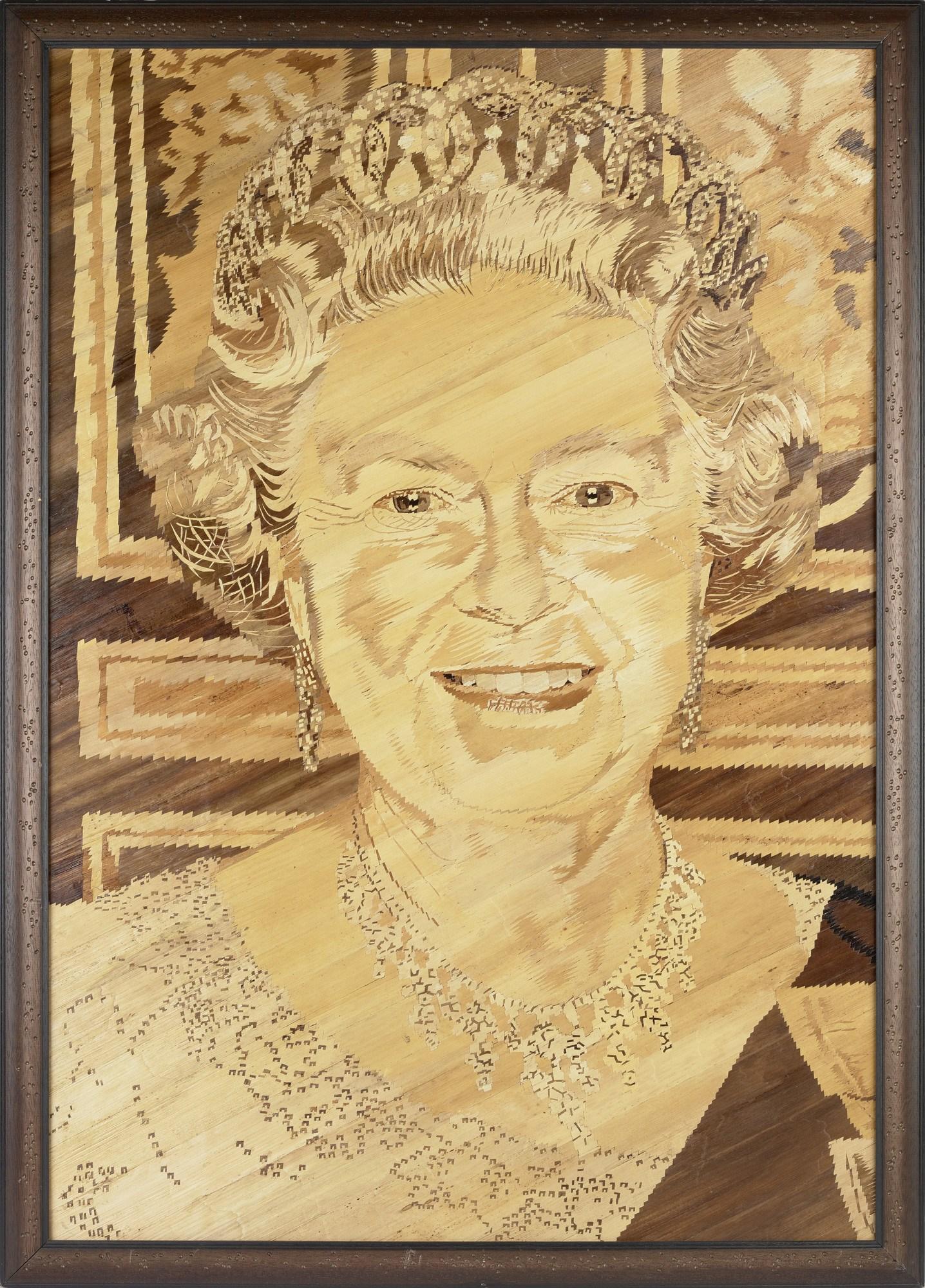 Queen Elizabeth Banana leaf portrait