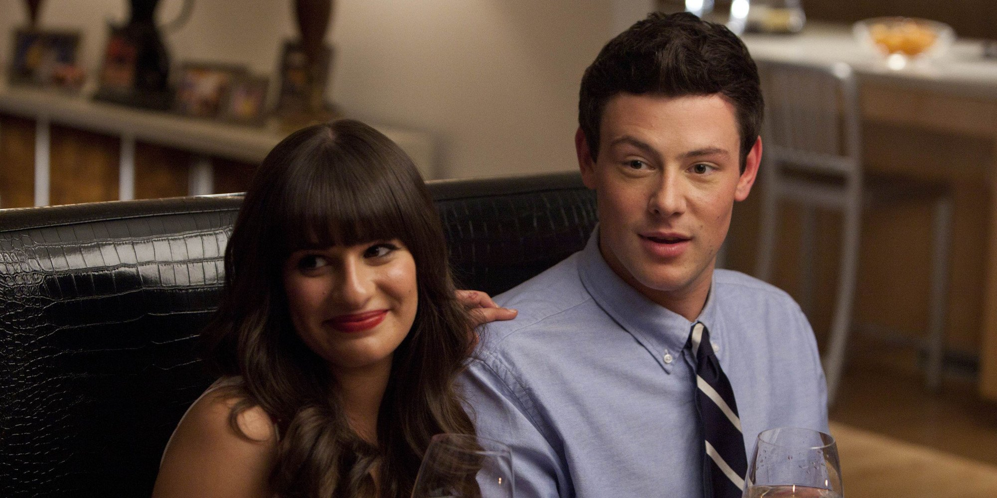 Lea Michele as Rachel Berry and Cory Monteith as Finn Hudson on Glee