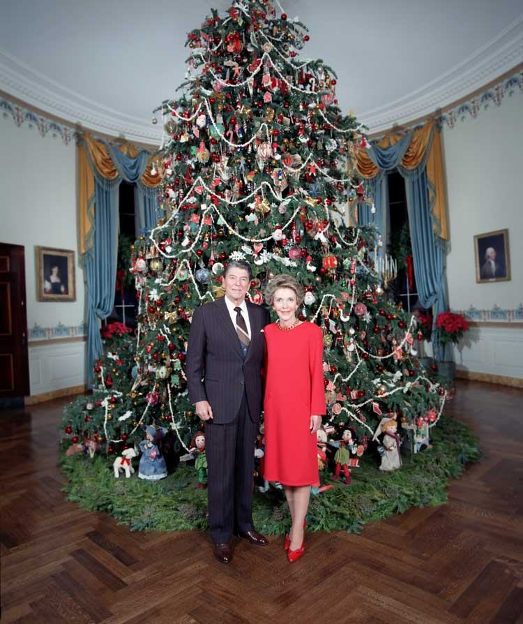 nancy and ronald reagan in front of their tree