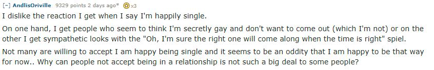 reddit post about being single