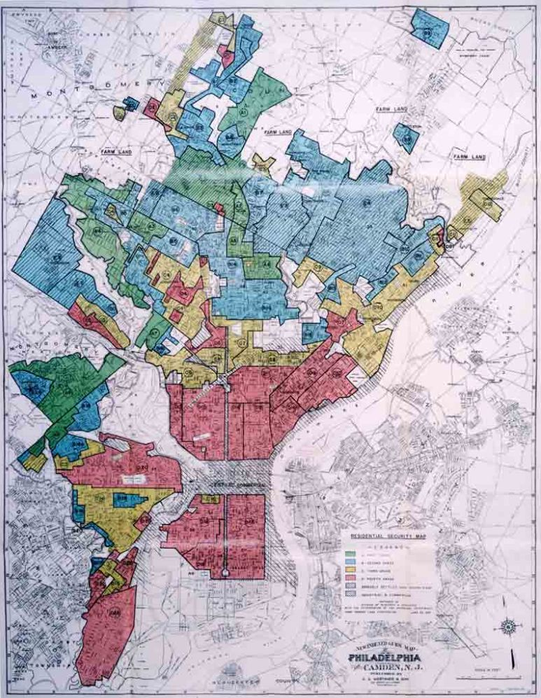 A map of Redlining in Philadelphia