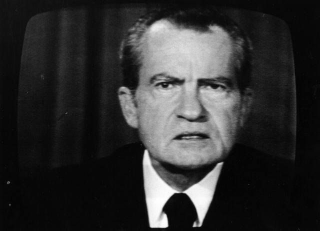 Richard Nixon during a televised address.
