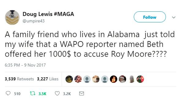 a tweet claiming a roy moore source was paid off