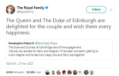 a tweet by the royal family on the engagement