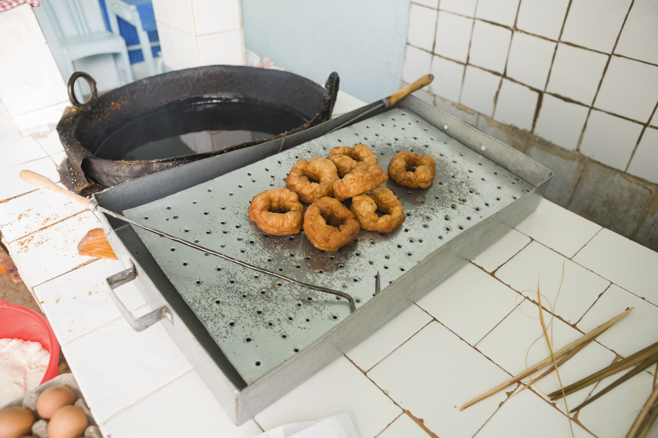 Sfenj or North African doughnut shop, cooked in oil. Chefchauen,