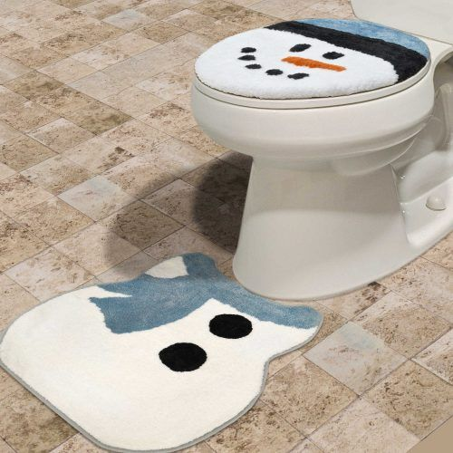 Home Dynamix 2-Piece Holiday Snowman Toilet Lid Cover and Mat Set
