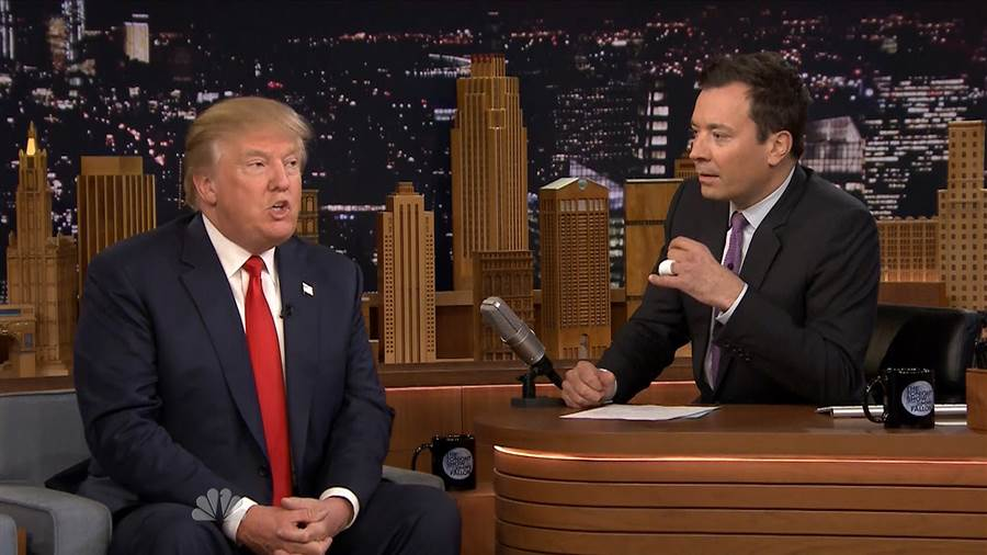 Donald Trump sits across from Jimmy Fallon