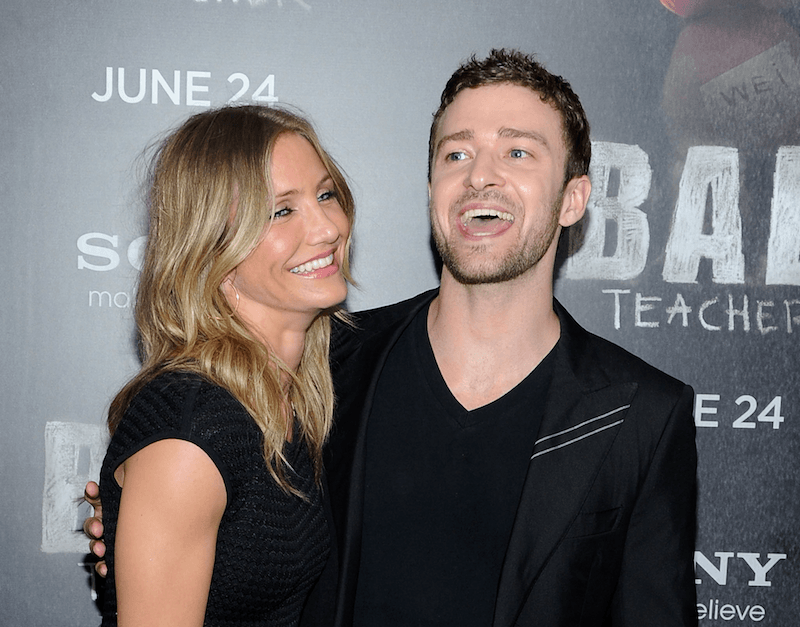 Actress Cameron Diaz and Justin Timberlake attend the premiere of 'Bad Teacher'