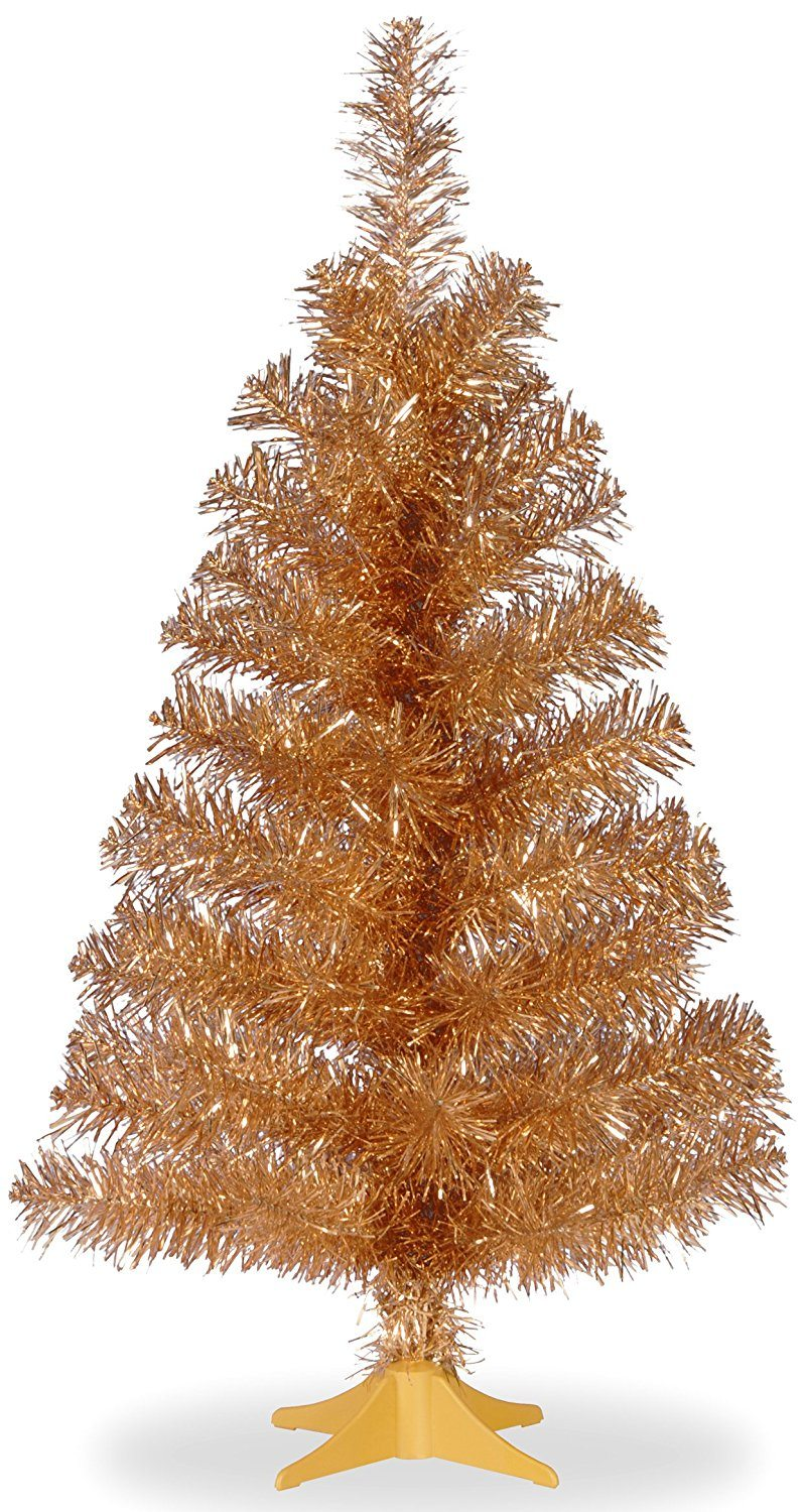 National Tree 3 Foot Champagne Tinsel Tree with Plastic Stand