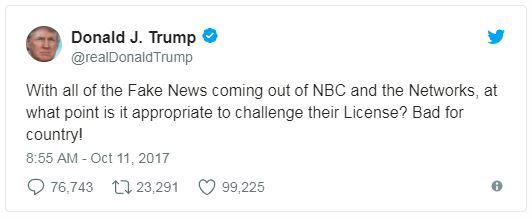trump tweet on the media licenses
