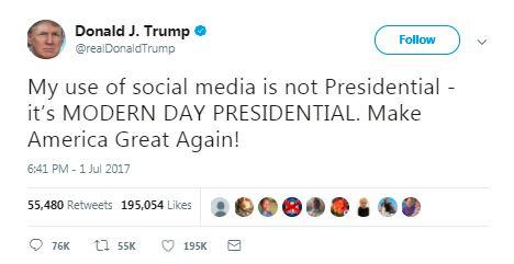 trump tweet about modern day presidential